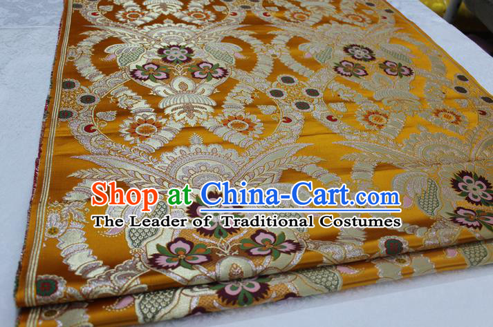 Chinese Traditional Ancient Costume Palace Enkianthus Pattern Cheongsam Yellow Brocade Tang Suit Satin Fabric Hanfu Material