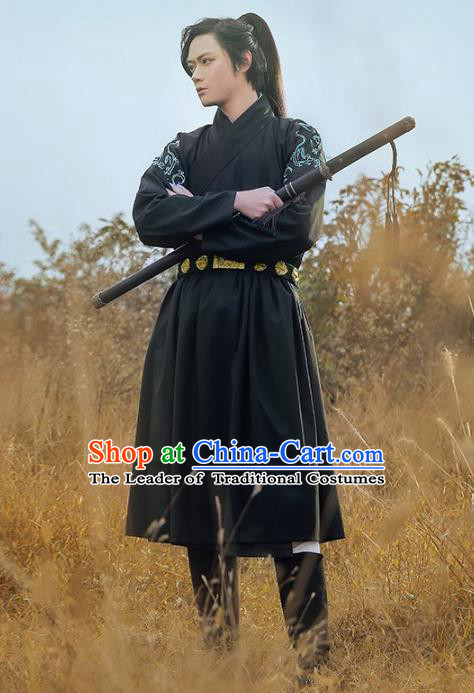Traditional Chinese Ming Dynasty Swordsman Ancient Imperial Guard Hanfu Embroidered Fly Fish Clothing for Men