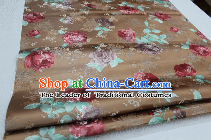 Chinese Traditional Ancient Costume Palace Peony Pattern Cheongsam Bronze Brocade Xiuhe Suit Satin Fabric Hanfu Material