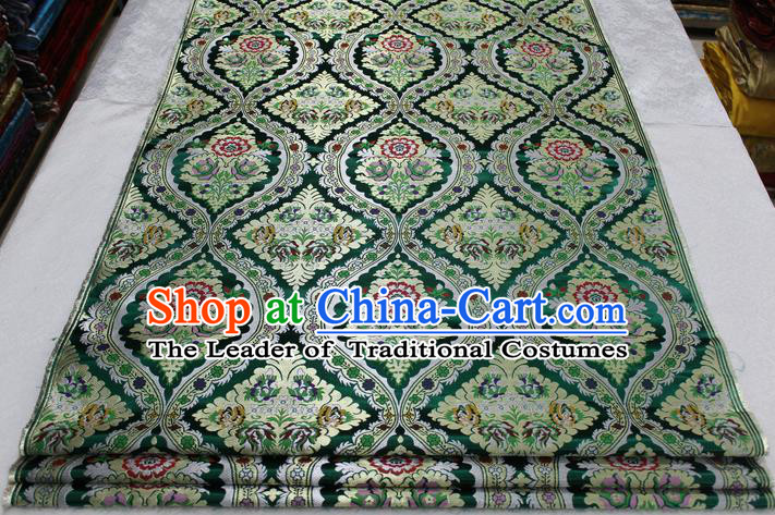 Chinese Traditional Ancient Costume Palace Pattern Cheongsam Green Nanjing Brocade Xiuhe Suit Satin Fabric Hanfu Material