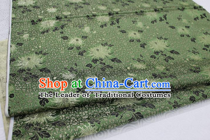 Chinese Traditional Ancient Costume Palace Chrysanthemum Pattern Cheongsam Green Brocade Xiuhe Suit Satin Fabric Hanfu Material