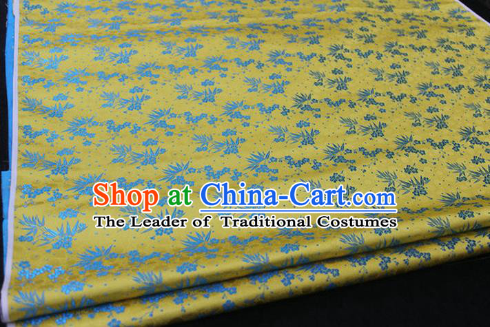 Chinese Traditional Ancient Costume Palace Bamboo Pattern Cheongsam Yellow Brocade Xiuhe Suit Satin Fabric Hanfu Material