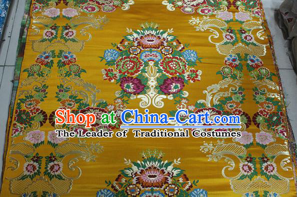Chinese Traditional Ancient Costume Palace Pattern Yellow Brocade Tang Suit Satin Cheongsam Fabric Hanfu Material