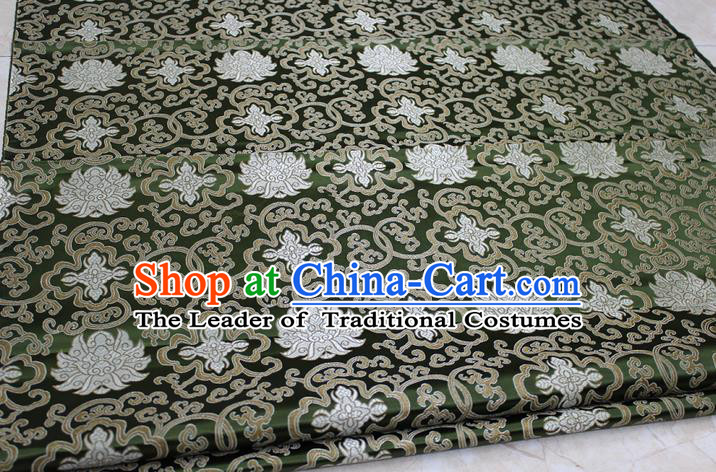 Chinese Traditional Ancient Costume Palace Pattern Mongolian Robe Deep Green Brocade Tang Suit Satin Cheongsam Fabric Hanfu Material