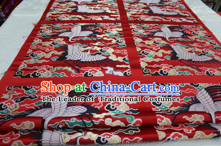 Chinese Traditional Ancient Costume Mandarin Square Palace Crane Pattern Red Brocade Tang Suit Satin Cheongsam Fabric Hanfu Material