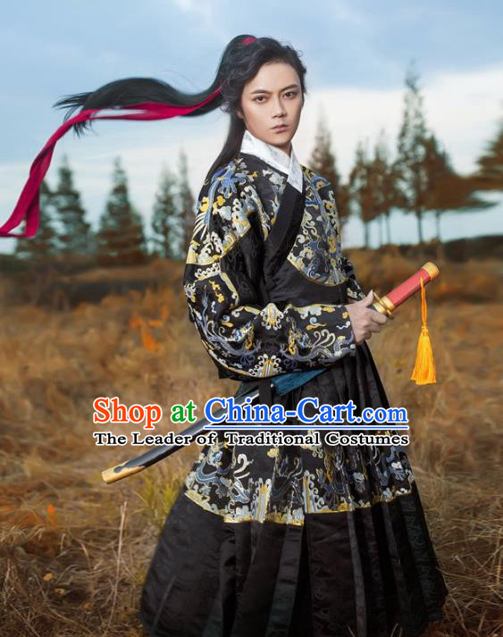 Traditional Chinese Ancient Ming Dynasty Blades Imperial Guard Hanfu Embroidered Fly Fish Clothing for Men