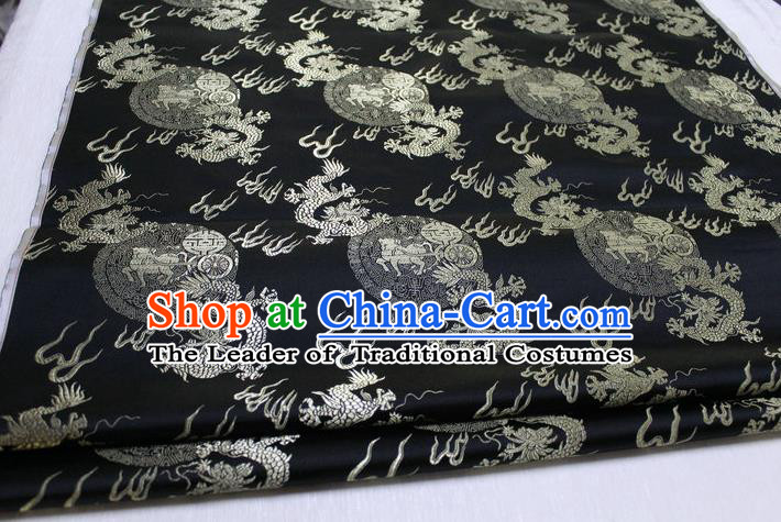 Chinese Traditional Ancient Costume Royal Palace Fire Dragon Pattern Tang Suit Mongolian Robe Black Brocade Satin Fabric Hanfu Material