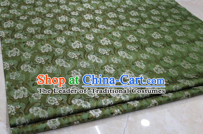 Chinese Traditional Wedding Cheongsam Ancient Costume Green Brocade Palace Pattern Tang Suit Satin Fabric Hanfu Material
