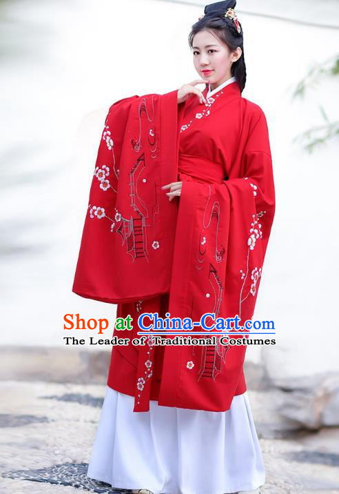 Traditional Chinese Han Dynasty Palace Lady Imperial Princess Hanfu Curving-front Robe Embroidered Costume for Women