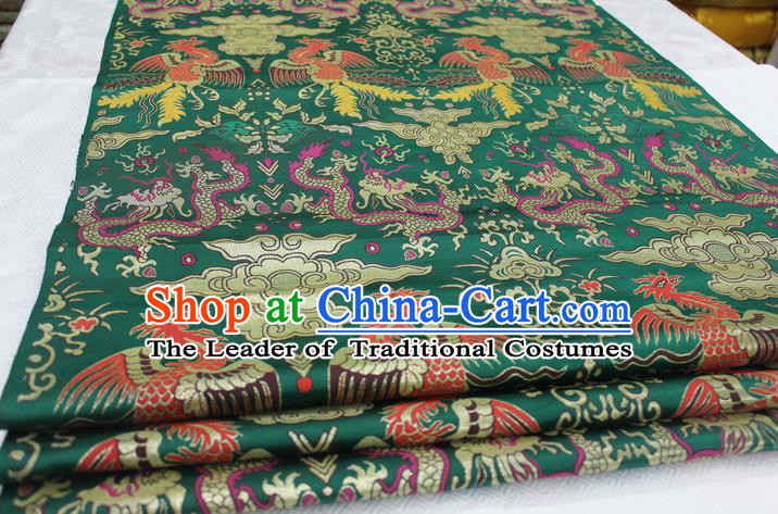 Chinese Traditional Clothing Palace Dragons Phoenix Pattern Cheongsam Green Brocade Ancient Costume Xiuhe Suit Satin Fabric Hanfu Material