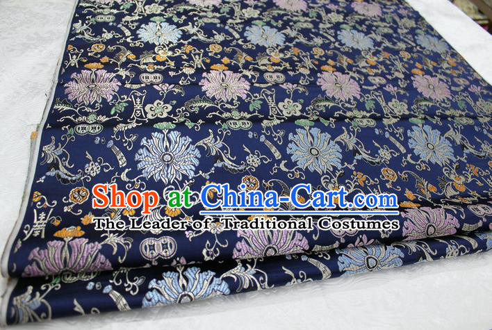 Chinese Traditional Clothing Palace Pattern Cheongsam Navy Brocade Ancient Costume Mongolian Robe Satin Fabric Hanfu Material