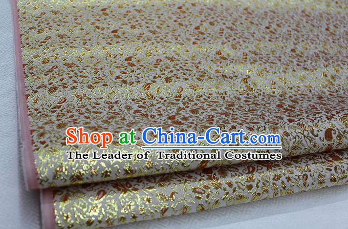 Chinese Traditional Clothing Palace Pattern Tang Suit Yellow Brocade Ancient Costume Cheongsam Satin Fabric Hanfu Material