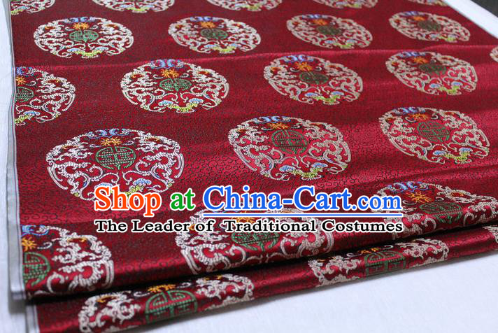Chinese Traditional Clothing Palace Pattern Tang Suit Wine Red Brocade Ancient Costume Mongolian Robe Satin Fabric Hanfu Material