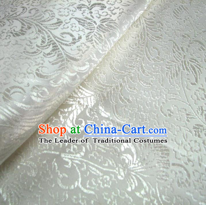 Chinese Traditional Royal Court Pattern White Brocade Xiuhe Suit Fabric Ancient Costume Tang Suit Cheongsam Hanfu Material