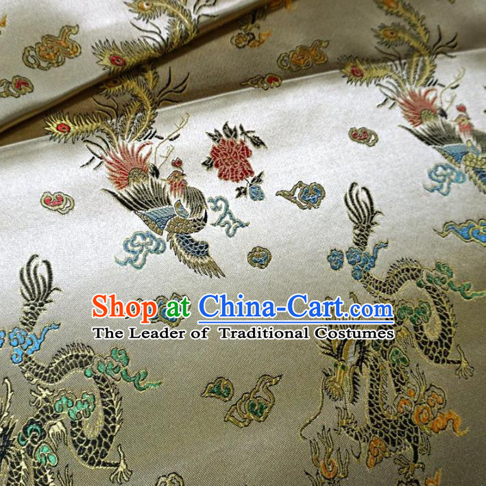 Chinese Traditional Royal Court Dragon Phoenix Pattern Yellow Brocade Xiuhe Suit Fabric Ancient Costume Tang Suit Cheongsam Hanfu Material