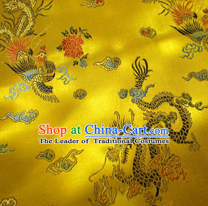 Chinese Traditional Royal Palace Dragon Phoenix Pattern Design Yellow Brocade Xiuhe Suit Fabric Ancient Costume Tang Suit Cheongsam Hanfu Material