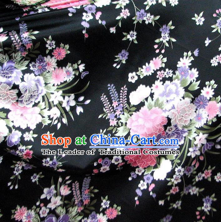 Chinese Traditional Royal Palace Flowers Pattern Design Black Brocade Fabric Ancient Costume Tang Suit Cheongsam Hanfu Material
