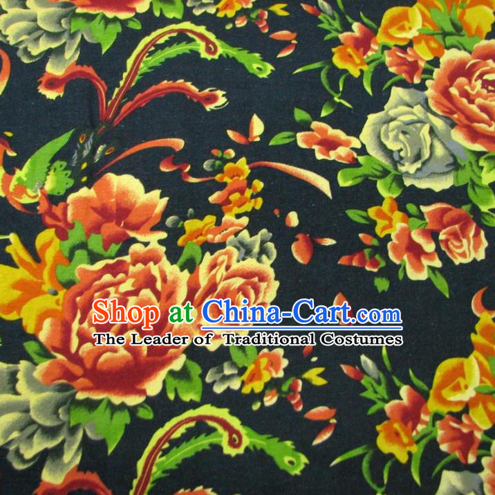 Chinese Traditional Palace Phoenix Peony Pattern Hanfu Black Cotton Fabric Ancient Costume Tang Suit Cheongsam Material