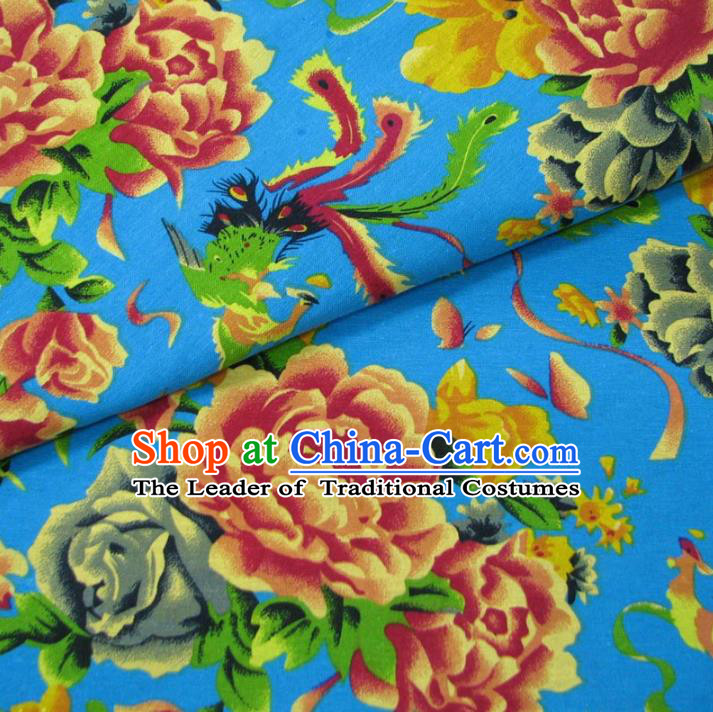 Chinese Traditional Palace Phoenix Peony Pattern Hanfu Blue Cotton Fabric Ancient Costume Tang Suit Cheongsam Material