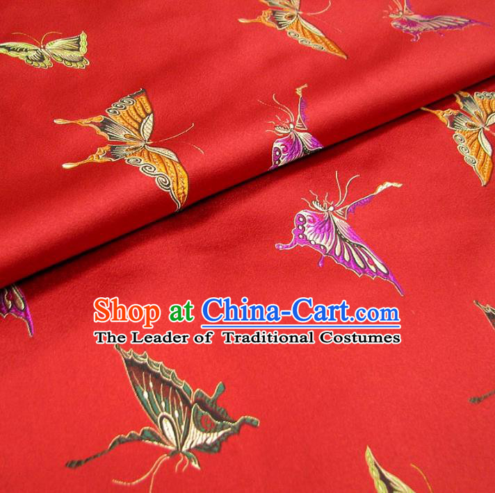 Chinese Traditional Palace Butterfly Pattern Hanfu Red Brocade Fabric Ancient Costume Tang Suit Cheongsam Material