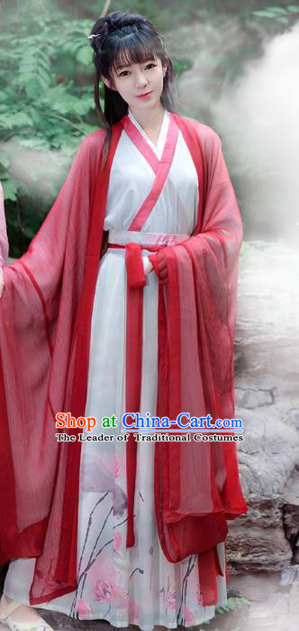 Traditional Chinese Jin Dynasty Palace Lady Elegant Hanfu Embroidered Costume Complete Set for Women