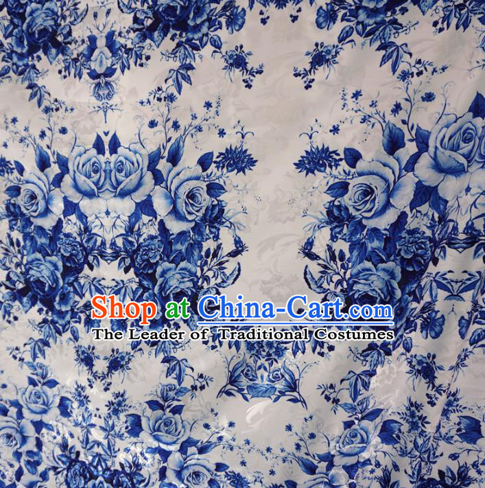 Chinese Traditional Palace Printing Rose Flowers Pattern Hanfu White Brocade Fabric Ancient Costume Tang Suit Cheongsam Material