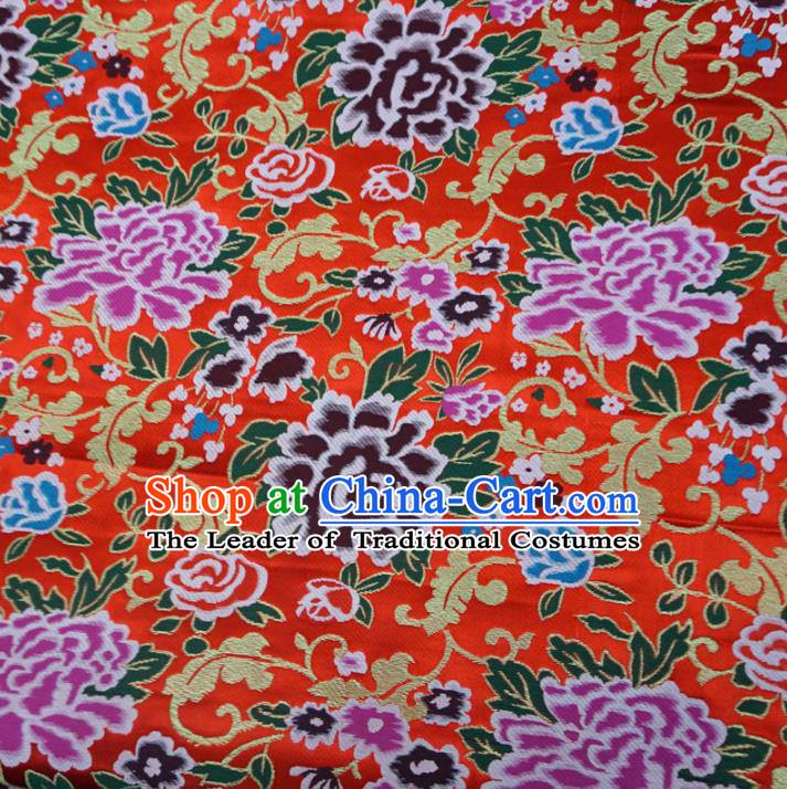 Chinese Traditional Palace Peony Pattern Hanfu Red Brocade Fabric Ancient Costume Tang Suit Cheongsam Material