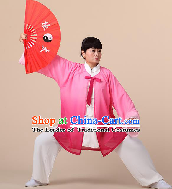 Traditional Chinese Kung Fu Costume Pink Chiffon Cloak, China Martial Arts Tai Ji Mantillas Clothing for Women