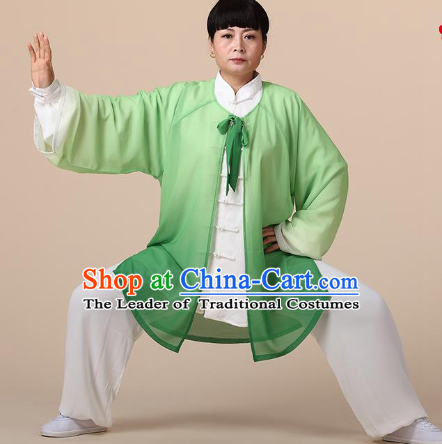 Traditional Chinese Kung Fu Costume Green Chiffon Cloak, China Martial Arts Tai Ji Mantillas Clothing for Women