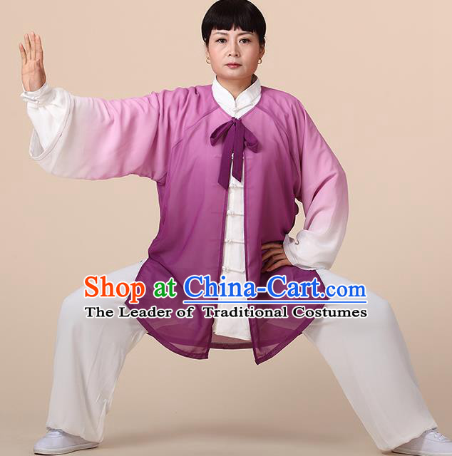 Traditional Chinese Kung Fu Costume Purple Chiffon Cloak, China Martial Arts Tai Ji Mantillas Clothing for Women