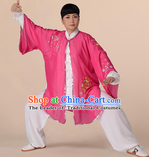 Traditional Chinese Kung Fu Costume Pink Chiffon Embroidered Cloak, China Martial Arts Tai Ji Mantillas Clothing for Women