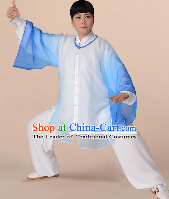 Traditional Chinese Kung Fu Costume Gradient Blue Chiffon Cloak, China Martial Arts Tai Ji Mantillas Clothing for Women