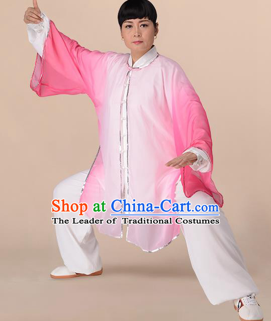 Traditional Chinese Kung Fu Costume Gradient Pink Chiffon Cloak, China Martial Arts Tai Ji Mantillas Clothing for Women