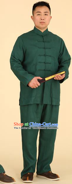 Traditional Chinese Kung Fu Green Linen Costume, China Martial Arts Uniform Tai Ji Tang Suit Clothing for Men