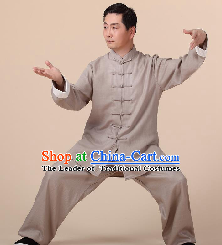 Traditional Chinese Kung Fu Khaki Linen Costume, China Martial Arts Uniform Tai Ji Tang Suit Clothing for Men