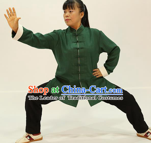 Traditional Chinese Kung Fu Green Linen Costume, China Martial Arts Uniform Tai Ji Tang Suit Plated Buttons Clothing for Women