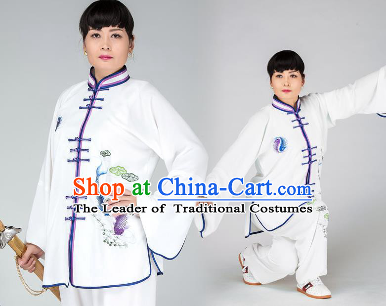 Traditional Chinese Kung Fu Printing Fish Costume, China Martial Arts Uniform Tai Ji Tang Suit Plated Buttons Clothing for Women