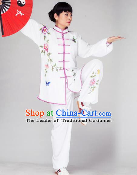 Traditional Chinese Kung Fu Printing Peony Costume, China Martial Arts Uniform Tai Ji Tang Suit Plated Buttons Clothing for Women