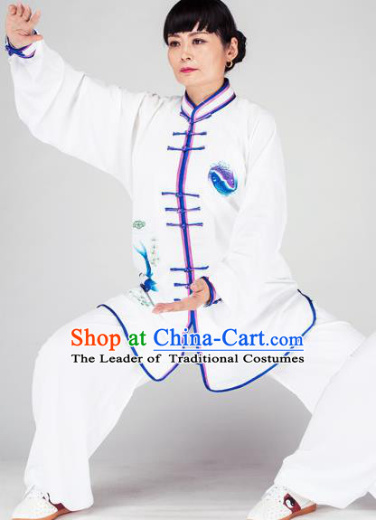 Traditional Chinese Kung Fu Printing Costume, China Martial Arts Uniform Tai Ji Tang Suit Plated Buttons Clothing for Women