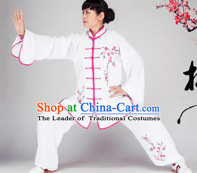 Traditional Chinese Kung Fu Printing Plum Blossom Costume, China Martial Arts Uniform Tai Ji Tang Suit Plated Buttons Clothing for Women