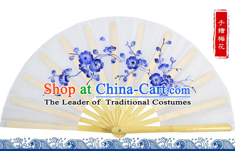 Chinese Traditional Hands Painted Wintersweet Fans Oriental Fan Tai Ji Dance Folding Fan