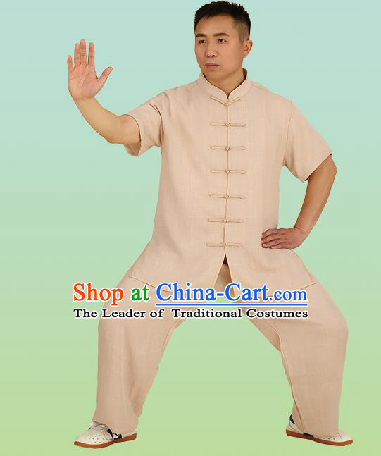 Chinese Linen Kung Fu Short Sleeve Khaki Costume, China Traditional Martial Arts Kung Fu Tai Ji Plated Buttons Uniform for Men