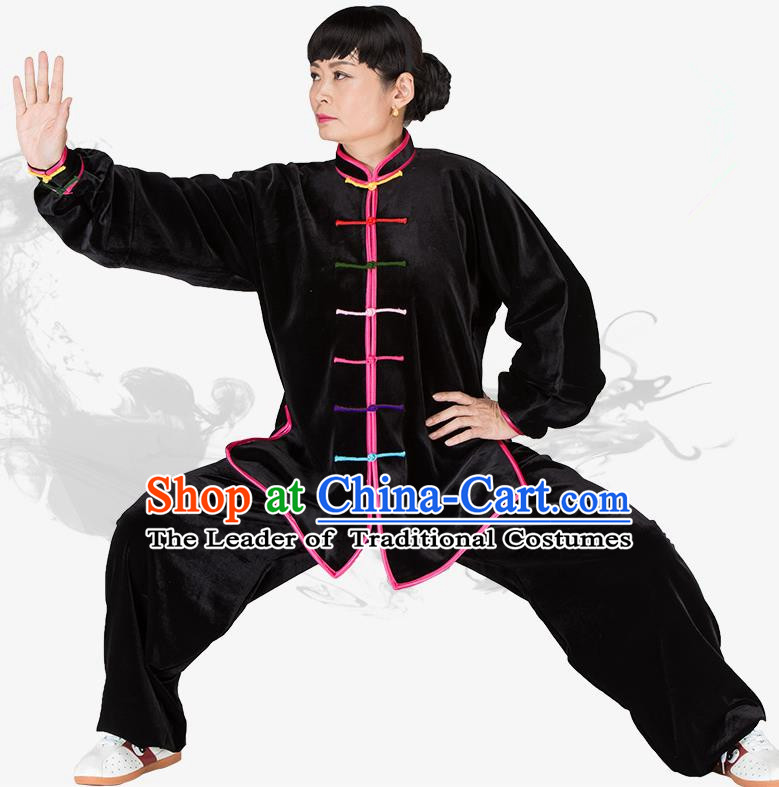 Chinese Kung Fu Black Velvet Costume, China Traditional Martial Arts Kung Fu Tai Ji Uniform for Women for Men