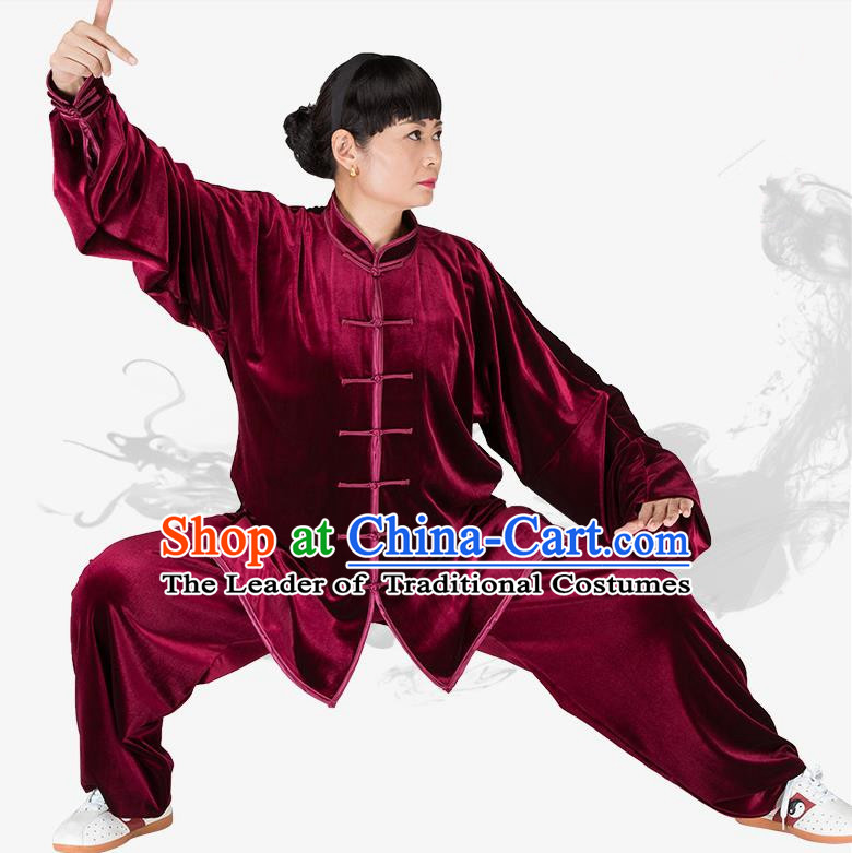 Chinese Kung Fu Wine Red Velvet Costume, China Traditional Martial Arts Kung Fu Tai Ji Uniform for Women for Men