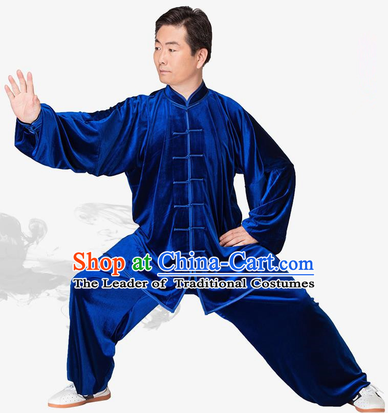 Chinese Kung Fu Royalblue Velvet Costume, China Traditional Martial Arts Kung Fu Tai Ji Uniform for Women for Men