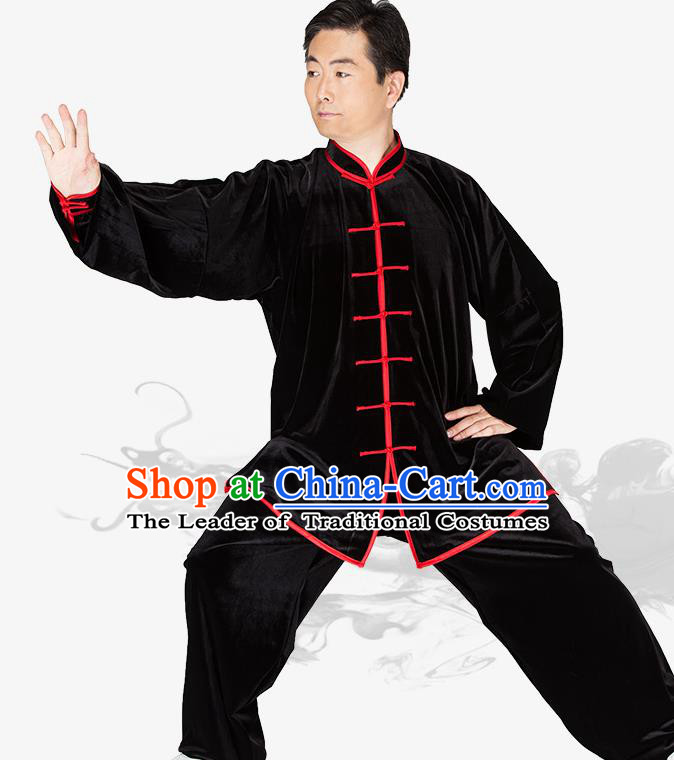Chinese Kung Fu Black Velvet Red Buttons Costume Traditional Martial Arts Kung Fu Tai Ji Uniform for Women for Men