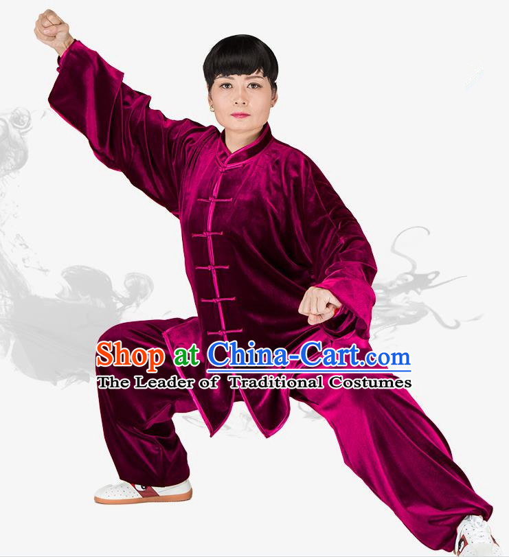 Chinese Kung Fu Black Wine Red Velvet Plated Buttons Costume Traditional Martial Arts Kung Fu Tai Ji Uniform for Women for Men
