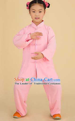 Chinese Kung Fu Linen Plated Buttons Costume, Traditional Martial Arts Tai Ji Pink Long Sleeve Uniform for Kids