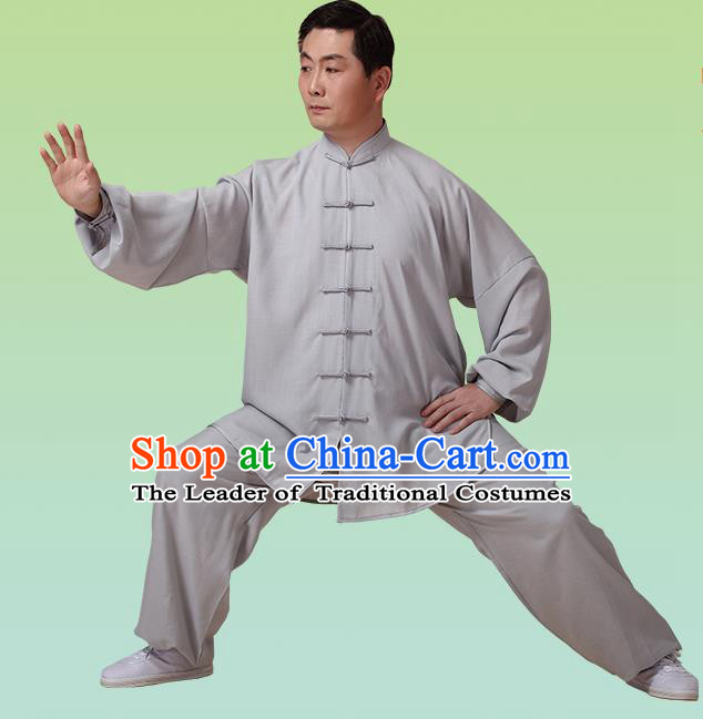 Top Grade Chinese Linen Kung Fu Costume, China Traditional Martial Arts Kung Fu Training Grey Uniform Wushu Clothing for Adult