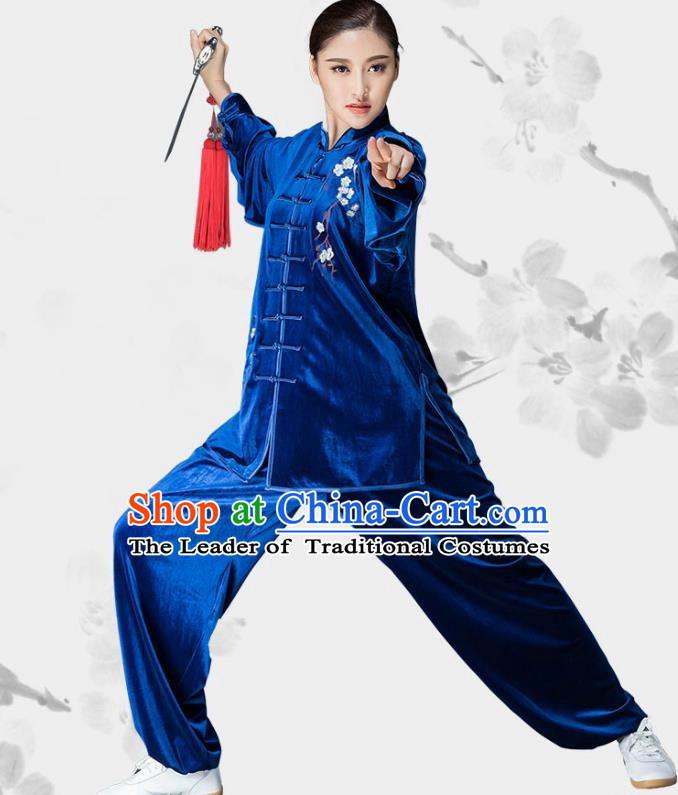 Traditional Chinese Kung Fu Royalblue Velvet Embroidered Costume, China Martial Arts Tai Ji Uniform Clothing for Women